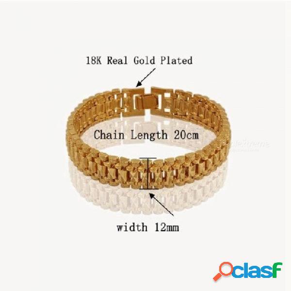 Chunky para hombre pulseras de cadena de mano para hombre al por mayor bijoux plata / oro pulsera de eslabones de cadena de color para los hombres joyería pulseira masculina 8 mm de ancho 18