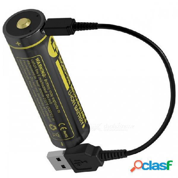 Nitecore nl1826r 18650 2600mah 3.6v 12.6wh micro usb batería recargable de li-on de alta calidad con protección