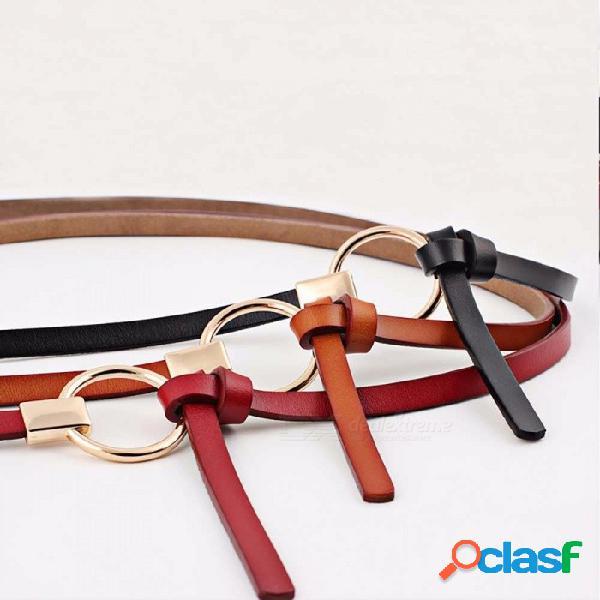 Nuevo diseño cinturones mujeres anudadas cinturones de cintura fina mujeres vestido decorar cuero marrón redondo hebilla de cinturón blanco
