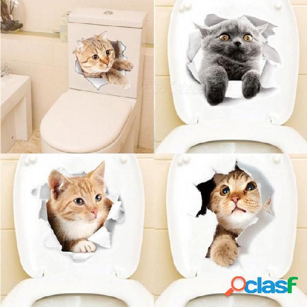 Pegatinas de aseo 3d de animales de dibujos animados en el asiento del inodoro gatos lindos pvc etiqueta de la pared baño refrigerador puerta decoración calcomanías calcomanías o / o