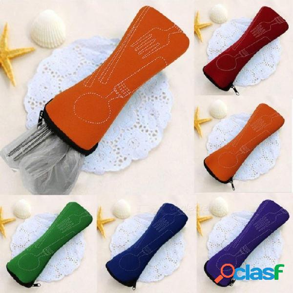 Vajilla portátil de acero inoxidable vajilla de viaje bolsa de viaje conjunto de cubiertos conjunto de poon tenedor conjunto herramienta de picnic 3 unids / set azul
