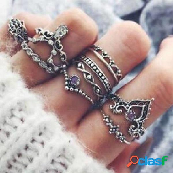 Anillo de piedras preciosas de diamantes de color púrpura conjunto giro hueco combinación de la junta de la corona de la palma 10 piezas anillo de conjunto de piedras preciosas anillo de cris