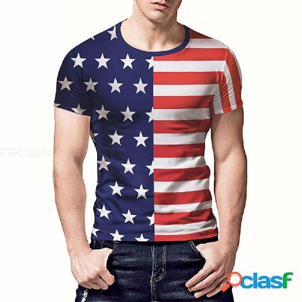 Camisetas de manga corta sueltas con estampado de retazos de estrellas creativas de verano para hombres