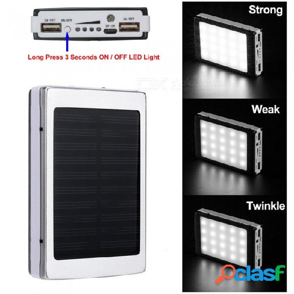Cwxuan portátil batería de polímero de litio de 5v 8000 mah, banco de energía solar móvil con dos puertos usb, 20 led de luz - plata