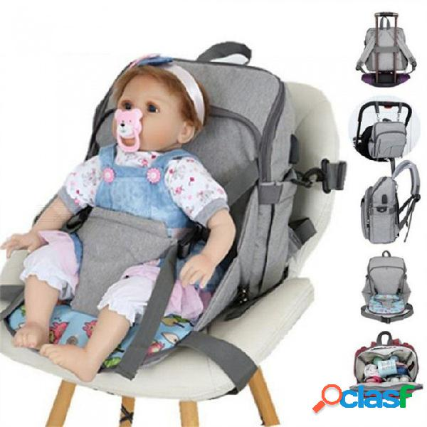 Mochila de color sólido de carga usb mochilas mochila de alimentación para bebés bolsa de pañales mamá gran capacidad bolso multifuncional azul