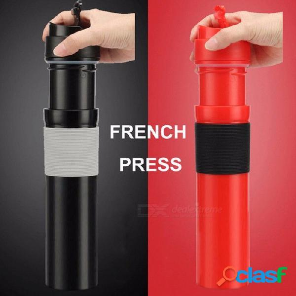 300 ml de prensa francesa portátil cafetera de acero inoxidable de doble pared taza de filtración de aislamiento de agua té taza de café negro