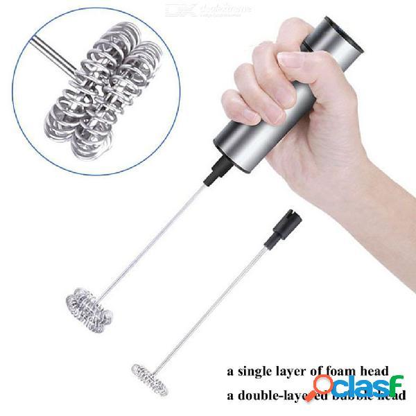 Eléctrico de mano espumador de leche espumante agitador mezclador mezclador agitador herramientas de cocina de color gris claro
