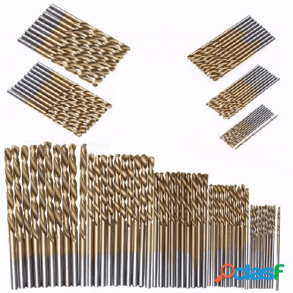 Juego De Brocas De Acero HSS De Alta Velocidad Con Recubrimiento De Titanio, Herramientas Eléctricas De Alta Calidad 1 / 1.5 / 2 / 2.5 / 3mm - Oro (50 Unids)