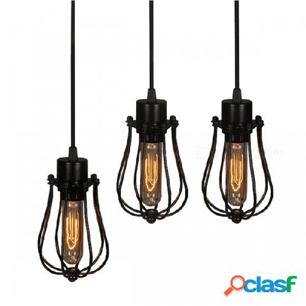 Lámpara colgante original pintada de metal negro de la vendimia cable de alambre de interior 1.2 ~ 1.5 m luces colgantes e27 110-240v negro