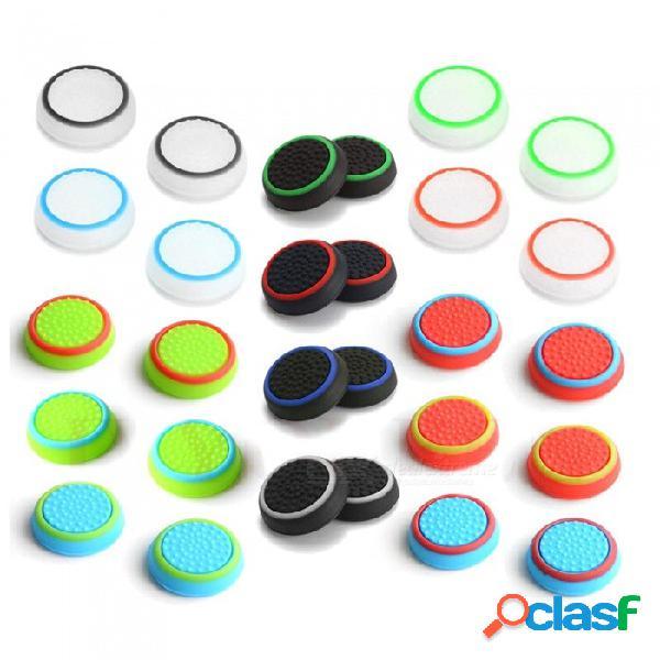 4 piezas de silicona analógico stick stick grip para playstation 4 ps4 pro slim para ps3 controller stickstick caps para xbox 360 one black red