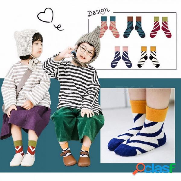 Algodón rayas diagonales color patchwork bebé niños calcetines para niños de 1 a 12 años niños (5 pares) color aleatorio