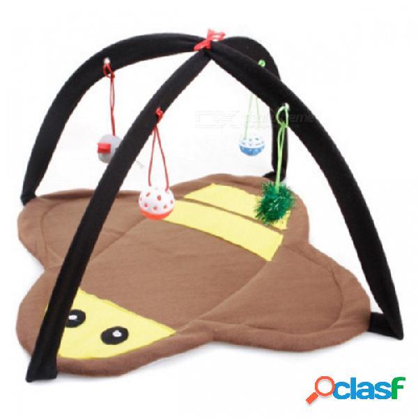 Estilo plegable de la abeja suave paño grueso y suave cama del gato tienda de campaña colchoneta colchoneta con campanas de bola gatito jugando juguetes - amarillo + marrón