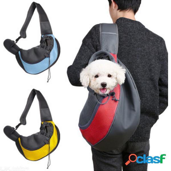 Honda portadora del animal doméstico pequeño perro cachorro perro gato, bolso de mano con asas de viaje de malla mochila con tazón de silicona para mascotas