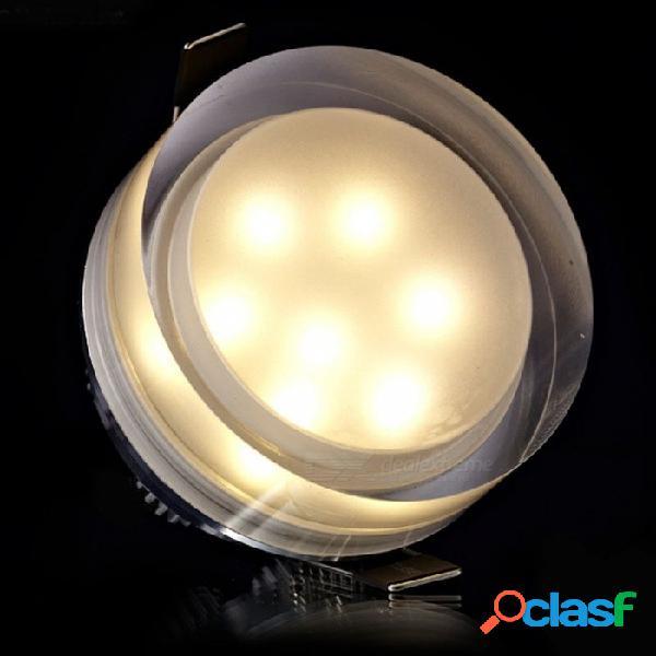 Led downlight de cristal cuadrado redondo led spot spot de techo 1w 3w 5w 7w led empotrada lámpara iluminación de la cocina para la decoración del hogar 7w cuadrado / blanco cálido