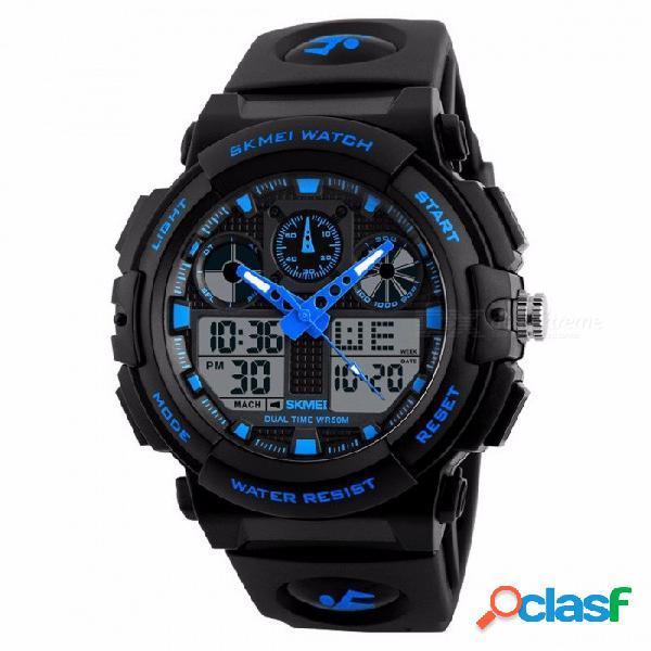 Reloj deportivo skmei 1270 de 50 m, resistente a la humedad, reloj cronógrafo digital con doble hora, pantalla de la semana.