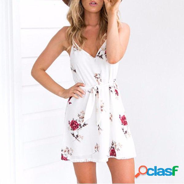 Vestidos de verano sin mangas con estampado floral con cuello en v, una línea vestidos blancos para mujeres