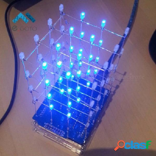 4 x kit de cubo de luz led azul 4 x 4, conjunto electrónico de led 3d diy para arduino, kit de led arduino de cubo inteligente led