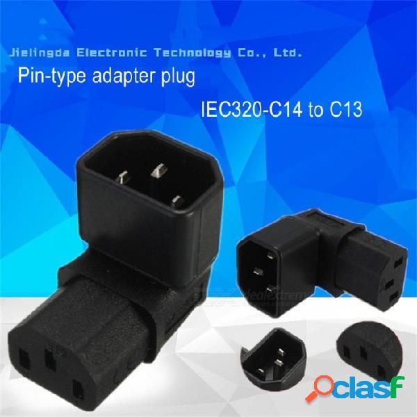 Forma l codo de 90 grados c13 hembra a c14 macho adaptador convertidor de enchufe para televisor lcd montado en la pared otro / negro