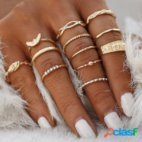 Juego de anillo de nudillo anillo de inserción de diamantes vintage 12 combinación trenzado anudado 12 anillos de oro conjunto