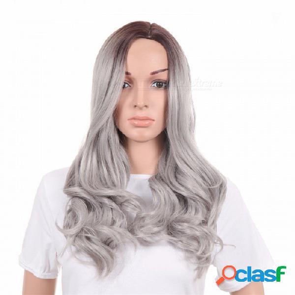 Peluca europea y americana gris teñida de pelo largo y rizado femenino en la manga dividida gris plata / 26 pulgadas