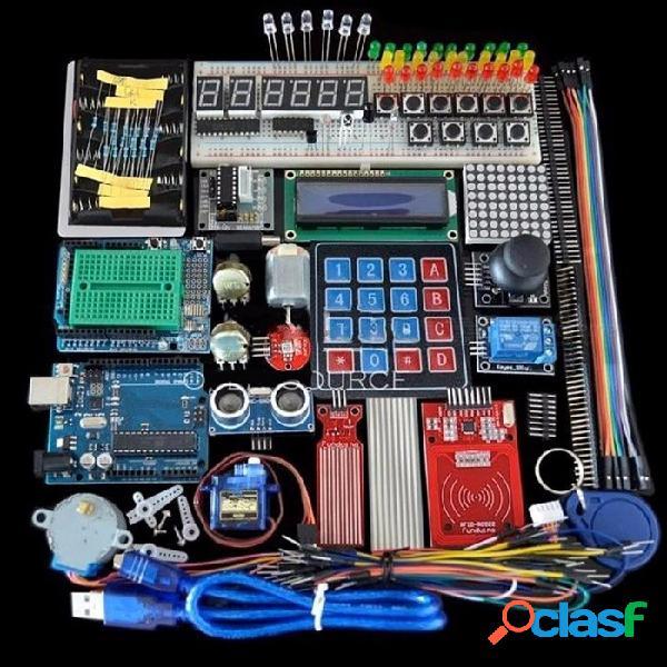 Tablero de pruebas de alta calidad del kit de arranque, motor de paso del sostenedor, servo, lcd 1602, juego de cables de puente para arduino uno r3 colorido