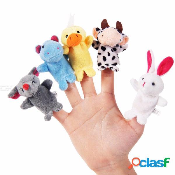 10 unids / set muñecos de dedo hechos a mano muñecas de animales de dibujos animados lindo para el niño