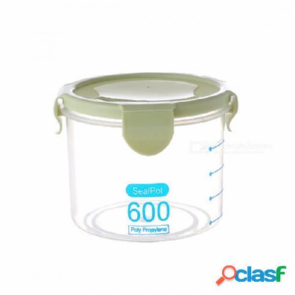 600/800 / 1000ml latas selladas de plástico transparente refrigerador grano de cocina caja de almacenamiento de alimentos contenedores de plástico con tapa ejército verde / m