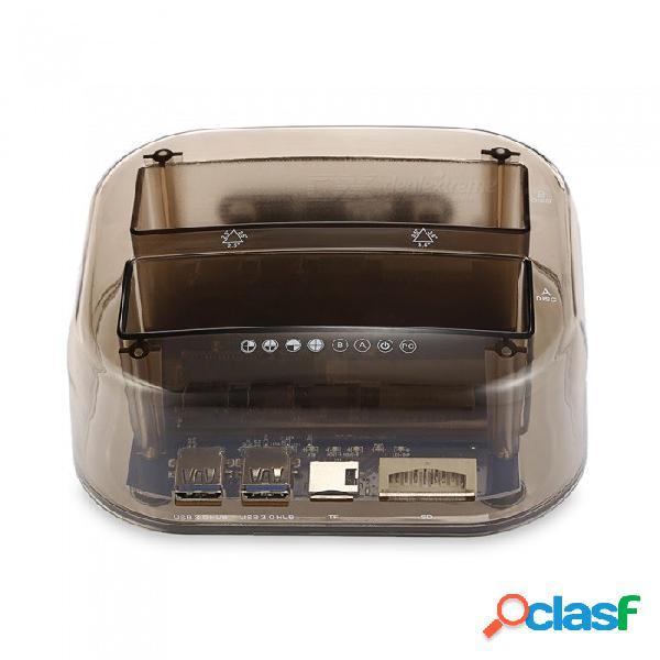 Base doble del disco duro de sata usb3.0 con la copia sin conexión del lector de la tarjeta 3.0 (respaldo de la llave de una ayuda) la regulación británica