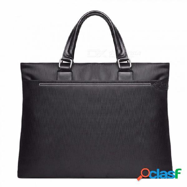 Bolso de la cartera de los hombres de negocios del paño de oxford a4, bolso portátil de la mano, bolso de mensajero de la cremallera negro