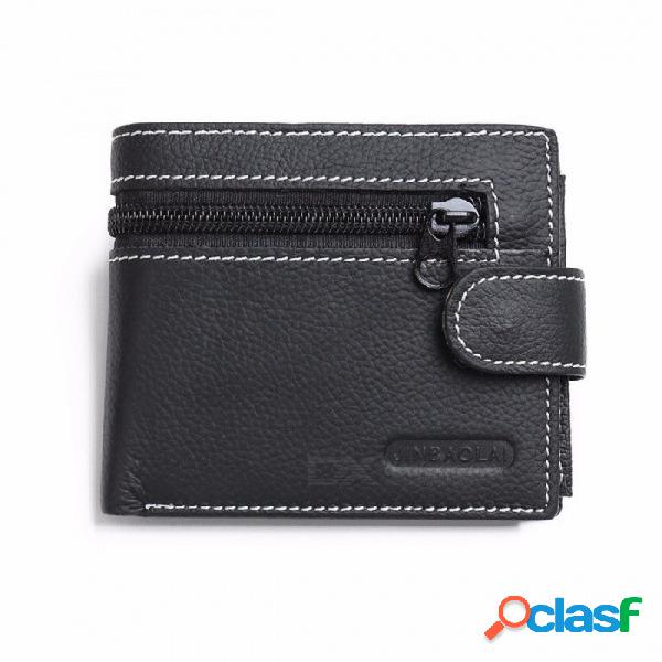 Cremallera de moda pequeño zip mini dinero pequeño cuero genuino hombres monedero monedero corto titular de la tarjeta bolsa de bolsa masculina negro
