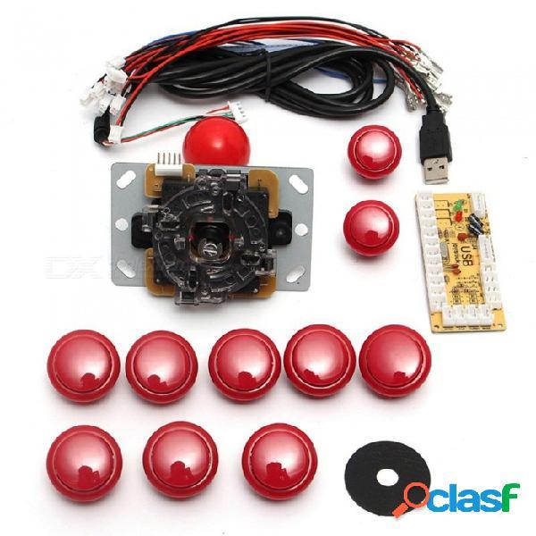 Kit de arcade con mango usb diy de 24mm. / botones de 30 mm, joystick de 5 pines, cable usb, tarjeta codificadora