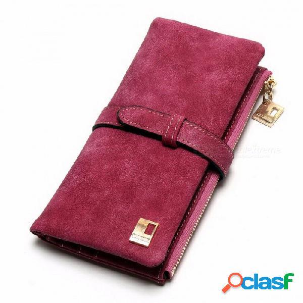 Nueva moda de gama alta nubuck con cordones de la pu de cuero con cremallera billetera, diseño largo dos plegables monedero para mujer rosa roja