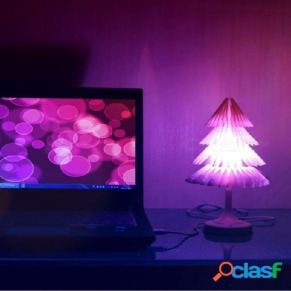 Árbol de navidad luces nocturnas led cable usb lámpara 3d escritorio luz decoración del hogar regalo de los niños blanco