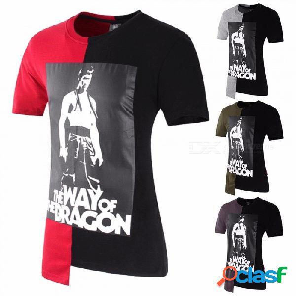 Camiseta parcheada con contraste de la moda de bruce lee para hombres camiseta de manga corta de algodón casual gris / m