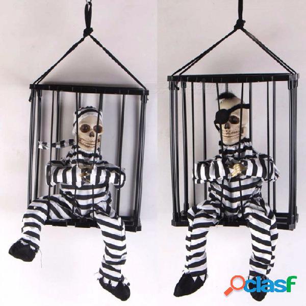 Halloween horror props casa encantada tricky juguete, infrarrojo inducido resplandor juguete de sonido, clásico jaula prisionero colgando fantasma negro