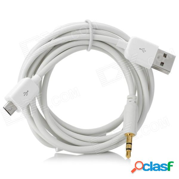 Micro usb a usb 2.0 / datos de audio del coche de 3,5 mm / cable de carga para samsung galaxy s3 / i9300 - blanco