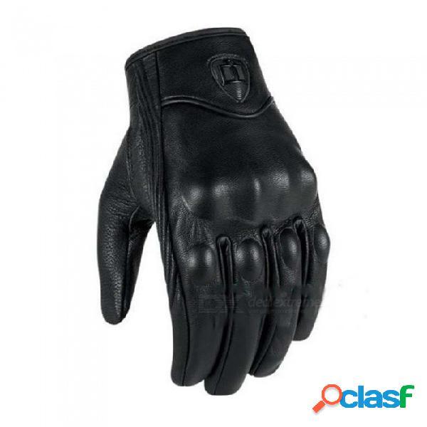 Guantes de cuero reales para motocicleta, guantes de ciclismo de motocross guantes de moto de moto de viento cálidos a prueba de viento (1 par) negro / m