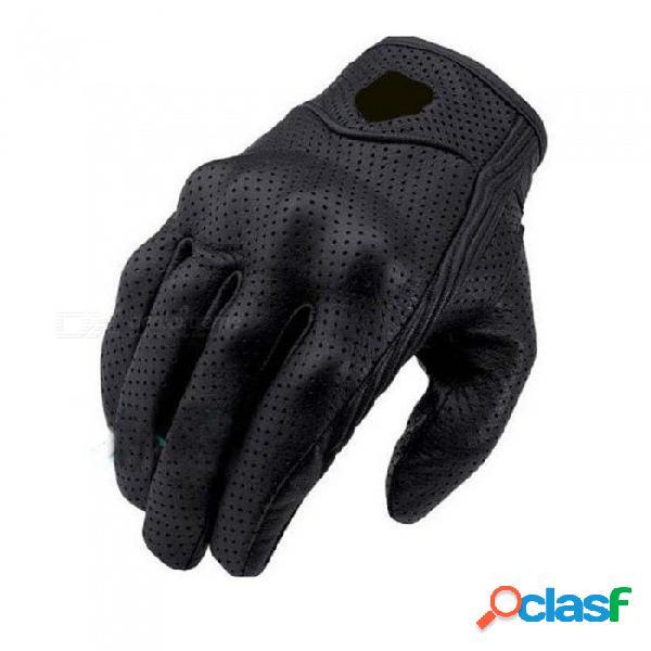 Guantes de cuero reales para motocicleta, guantes impermeables de motocross para guantes de moto de agua de regalo (1 par) negro / m