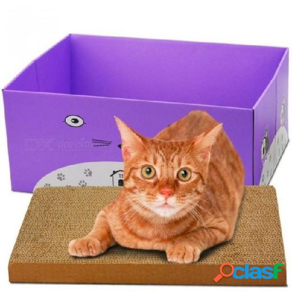 Cat scratcher cat product bed box pet products couch cardboard paper cat toy scratching pad 3 colour-purple color foldable box scratch/blue