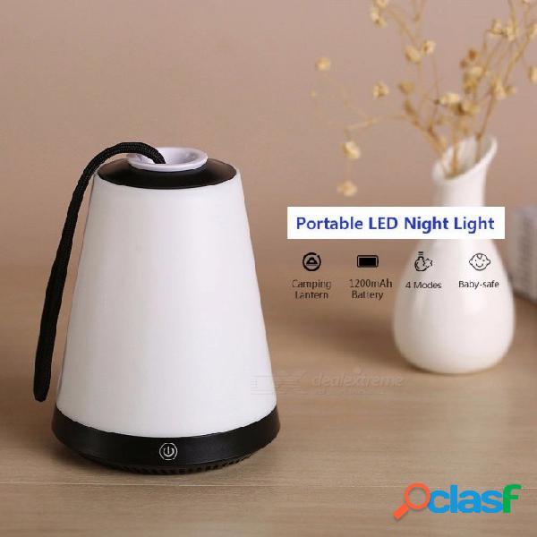 Luz de noche led portátil 4 modos de control táctil volcán linterna para acampar para dormitorio multifunción lámpara de iluminación segura azul