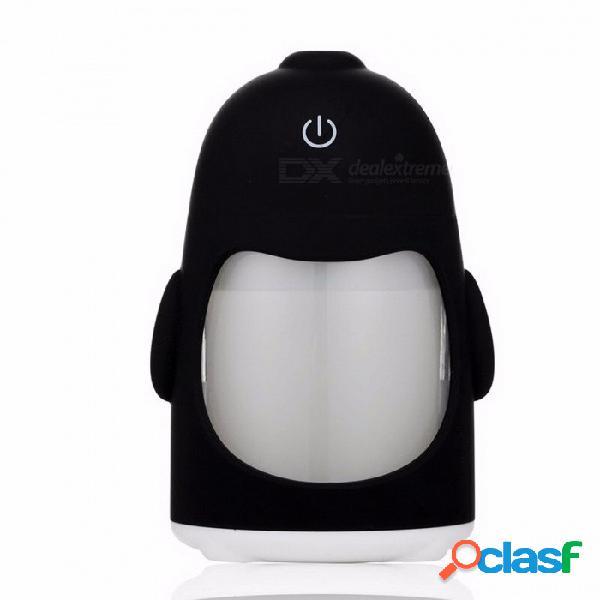 Mini pingüino forma usb ultrasónico humidificador de aire con luz led de 7 colores, difusor de aceite esencial fabricante de niebla regalo blanco