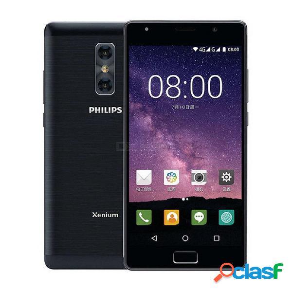 Philips xenium x598 5.5 pulgadas fhd teléfono inteligente android 4gb + 64gb desbloqueo de huellas dactilares 4 núcleos 4000 mah 13mp teléfono con cámara dual