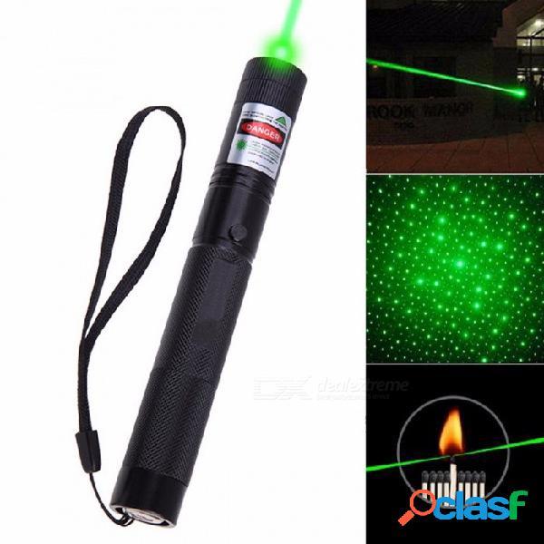 Potente puntero láser verde estrellas 5mw militar 532nm con estrella tapa linterna foco ajustable 8000-10000 metros negro