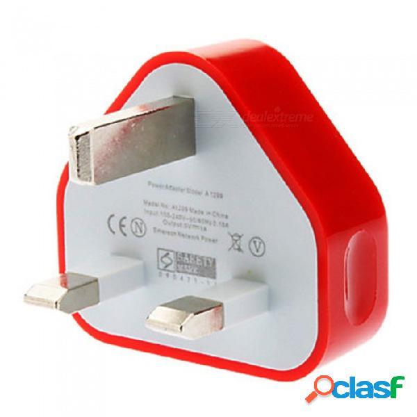 Szkinston ac 100-240v alimentación puertos usb inteligentes triángulo reino unido enchufe cargadores de ca de carga rápida para todos los teléfonos móviles, tabletas - rojo