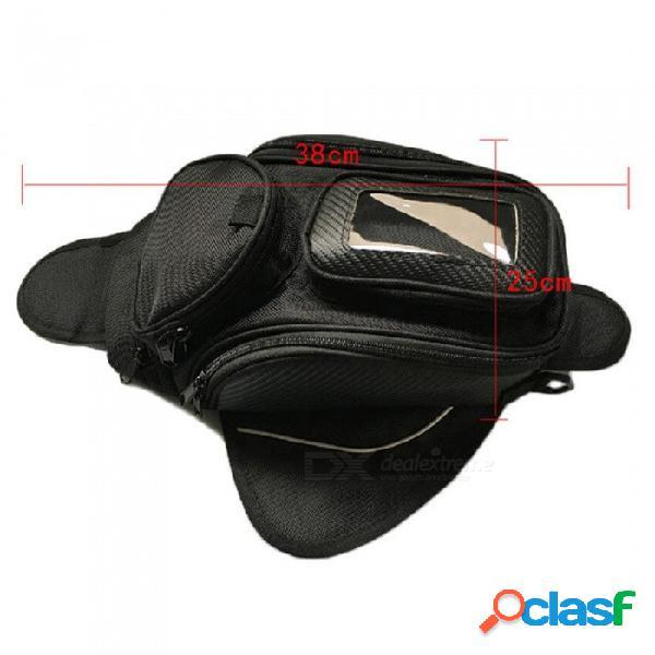 Bolsa de tanque de motocicleta para montar en el exterior bolsa de almacenamiento con cremallera de nylon con múltiples bolsillos y pequeña bolsa transparente para tocar el teléfono móvil
