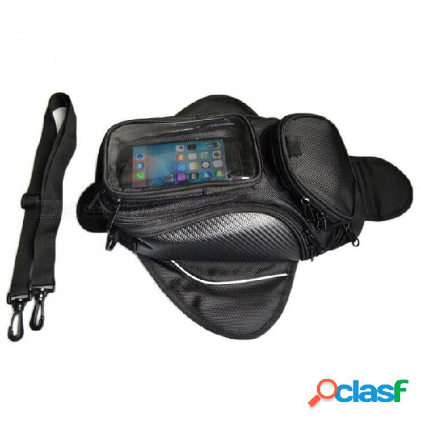 Bolsa de tanque de motocicleta para montar en el exterior bolsa de almacenamiento con cremallera de nylon de bolsillo múltiple con una bolsa transparente grande para teléfono móvil táctil
