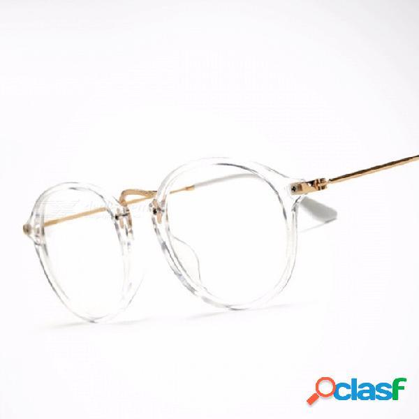 Gafas transparentes clásicas vintage redondas unisex nerd gafas marco gafas claras lunette de vue oculos de grau con caja de oro