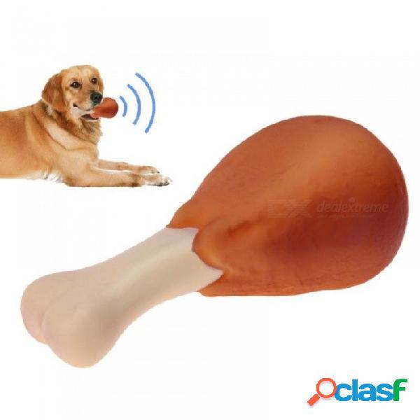 Perro mascota chirriante juguetes masticables piernas de pollo diseños juguetes para perros pequeños y grandes perros gato cachorro sonido pollo masticar juguete chirriante tamaño / marrón