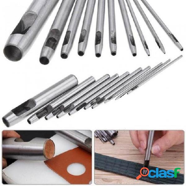 10 unids bricolaje cinturón hecho a mano punzón agujero de cuero perforadora hueca herramientas de perforación de artesanía de cuero conjunto punzón conjunto herramienta de cuero 10 pcs