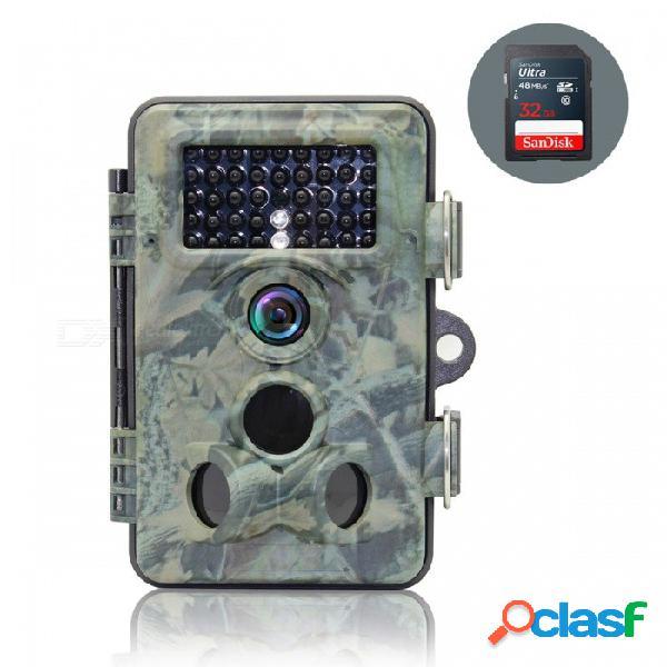 "Cámara de caza a prueba de agua 2.4 ""tft lcd 12mp ip66 + tarjeta sd de 32 gb para el sendero de la fauna del bosque"